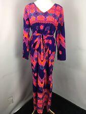 Hawaiian Kimono Belted Kamehameha 1950's Paisley Purple Pink Orange Maxi Dress