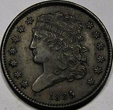1835 Classic Head Half Cent Choice AU-BU... 100% Original and so Very NICE, PQ!!