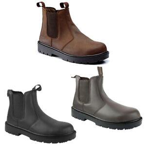 POWCOG MENS SAFETY DEALER BOOT Chelsea Leather Slip On Steel Toe Cap Work Shoes