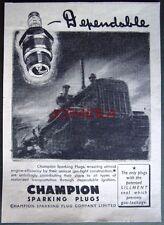 1941 'CHAMPION' Motor Sparking Plugs ADVERT - Small WW2 Tractor Print Ad