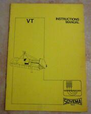 Manuel d'instructions FRAISE ROTATIVE SOVEMA GAMME VT tracteur agricole