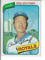 PAUL SPLITTORFF 1980 TOPPS BASEBALL AUTOGRAPHED CARD 409 KANSAS CITY ROYALS