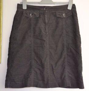 LAURA ASHLEY Lined Grey Cotton Velvet Skirt Size 12