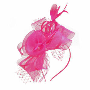 Mesh Flower Fascinator With Feathers Headband and Clip