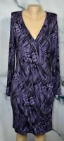 BANANA REPUBLIC Purple Black Patterned Stretchy Faux Wrap Dress XL Long Sleeves