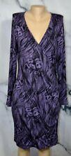BANANA REPUBLIC Purple Black Patterned Stretchy Faux Wrap Dress XL Long Sleeves