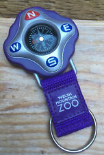 Purple Keyring Compass/Souvenir From Welsh Mountain Zoo/Plastic/Walking/Hiking