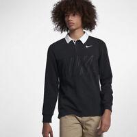 Nike SB Dry Long Sleeve Skateboarding Polo Shirt 885847-471 Black & White XL