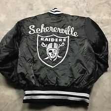 RAIDERS SATIN JACKET 90s VTG DeLong Snap S Schererville Made in USA Embroidered