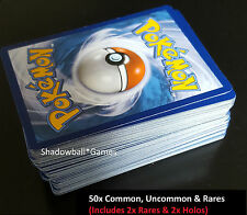 Pokemon* 50x Random Card Lot - Common Uncommon Rare - GUARANTEED RARES & HOLOS!