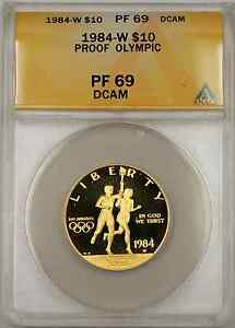 1984-W Proof Olympic Commemorative Gold Coin $10 ANACS PF 69 Proof DCAM