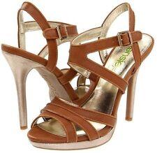 """Kensie """"Steffie"""" Tan w/Gold Heels Platform Sandal, 8M – MSRP $89"""