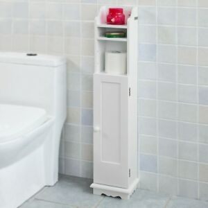SoBuy® Support Papier Armoir Toilettes Porte Brosse WC en Bois-Blanc FRG177-W FR