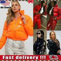 Women Winter Wet Look PU Leather Coat Puffer Bubble Jacket Quilted Outwear Top