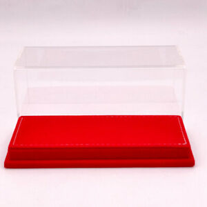 17cm 1:43 Thicken Acrylic Case Models Display Boxes Transparent Red Flannel Base