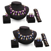 4PCS Women Crystal Gold Bridal Necklace Earring Ring Bracelet Jewelry set   BR