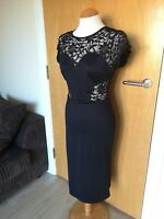 Ladies MIUSOL Dress Size 12 Black Lace Panels Wiggle Stretch Party Evening