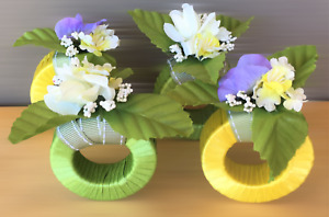 Summer Tea Flowers Napkin Rings Holder Set of 4 Green Yellow Floral Pretty