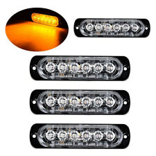 4Pc Amber/Amber 6LED Car Truck Emergency Warning Hazard Flash Strobe Light