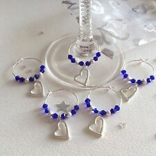20 Blue Wedding Wine Glass Charms. Favours, Hens, Gifts, Party. Crystal