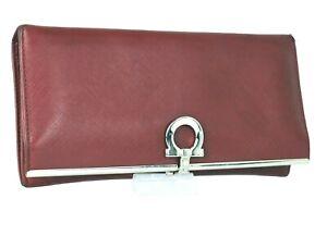 Auth Salvatore Ferragamo Ganchini Logos Red Leather Bi fold Long Wallet Italy