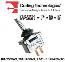 CARLING SWITCH DA221 P B B SPST 10A 250VAC, 20A 125VAC, 1 1/2 HP 125-250VAC