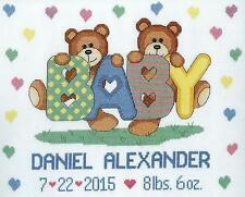 Janlynn Cross Stitch Kit - Teddy Baby Birth Announcement