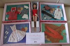 Let's Play Vintage Look Brunette Barbie Doll and 4 Pack Fashions