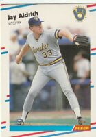 FREE SHIPPING-MINT-1988 Fleer Jay Aldrich #155 BREWERS PLUS BONUS CARDS