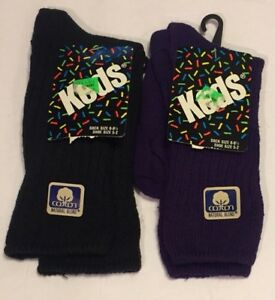 Vtg Keds Youth Socks 2 Pair New 1982 Size 6-8.5 Shoe Sz 5-2 Black Purple USA