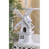BIRDHOUSE: Distressed WHITE DUTCH WINDMILL Bird House NEW