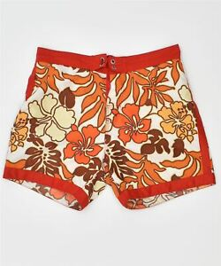 BEST COMPANY Womens Beach Shorts Large W31 Orange Floral Polyester NC13