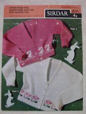 Vintage Knitting Pattern – Girls Cardigan with Bunny / Flower Motif –Sirdar 311x