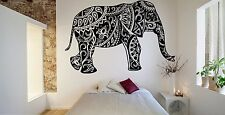 Wall Room Decor Art Vinyl Sticker Mural Decal Elephant Mehendi India Hindu FI786