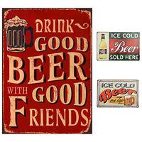 LC_ vintage bière lettres métal affiche décor signe BARRE mural de maison