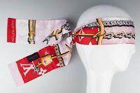 Louis Vuitton Bandeau Silk Headband scarf Pink red Bags Chains