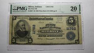 $5 1902 Milroy Indiana IN National Currency Bank Note Bill Ch. #11782 VF20 PMG