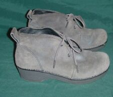 Dansko Lucille Gray Suede Leather Lace Up Ankle Boots Size 37 US Womens 6.5 - 7