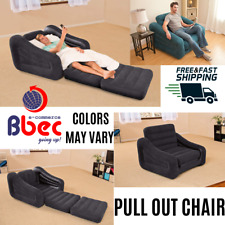 Inflatable Pull Out Sofa Chair and Twin Bed Air Mattress Sleeper Colors May Vary