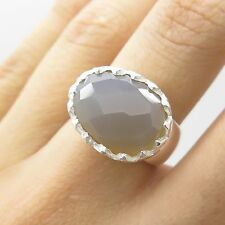 925 Sterling Silver Natural Chalcedony Gemstone Ring Size 6