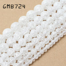 Wholesale Natural White Cracked Crystal Round Beads For Jewelry Making 15.5inch