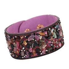 Retro Vintage Women Ladies Stone Beaded Leather Wristband Bangle Bracelet Cuff
