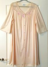 Lorraine Robe or Sleep Coat Xxl? Pale Peach 6 Button Front Open, Long Sleeves