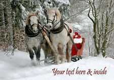 HORSE SLEIGH WINTER SNOW CHRISTMAS CARD Personalised & Illustrated in & out