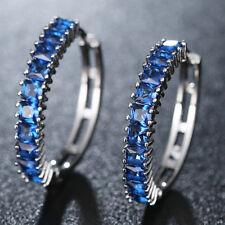 Slim Design Multi Pieces Morganite Topaz Gems Women Ear Hook Silver Earring Blue