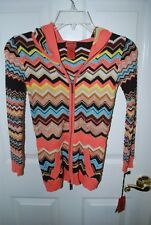 MISSONI FOR TARGET Girls Chevron ZigZag Hoodie Sweater Cardigan Zip NEW MEDIUM