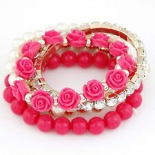 Bohemian Candy Color Bangle Pearl Rose Flower Multilayer Beads Stretch Bracelet