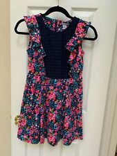 Girl's Heartstrings Navy & Pink Floral Crocheted Front Dress Size 12 EUC