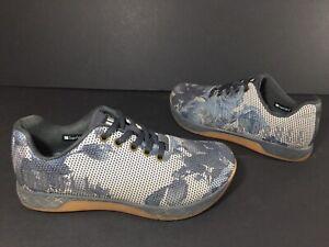 NOBULL Gray White Blue Floral Trainer Shoes US men's Sz 5 - women's 6.5