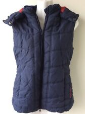 HARRY HALL ladies quilted puffa style navy blue hooded waistcoat gilet size S
